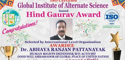 Dr. Abhaya Receives an Award from the Global Institute of Alternative Science