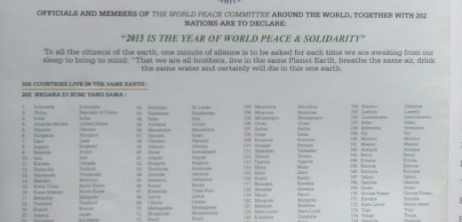 202 Negara Anggota the World Peace Committee